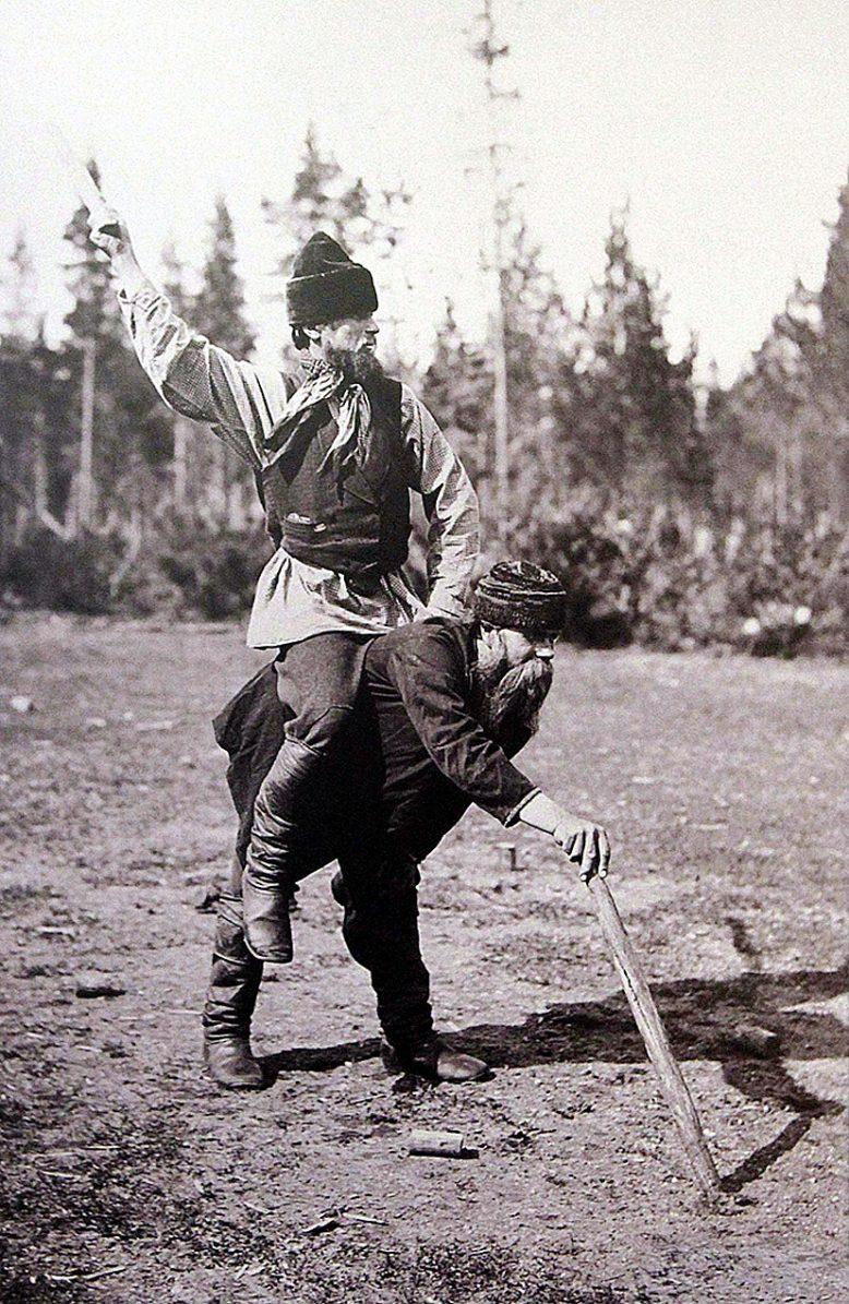 Photo d'un gagnant de Kyykkä sur le dos du perdant