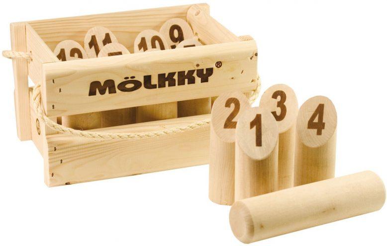 Photo du jeu Mölkky dans sa caisse en pin